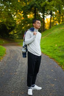 Free Man In Grey Turtleneck Long-sleeved Shirt And Black Pants Standing On Pathway Royalty Free Stock Image - 126195826