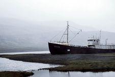 Free Black Ship Docked Between Frozen Lake Photo During Foggy Day Royalty Free Stock Image - 126195986