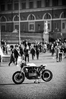 Free Grayscale Photo Of Sports Bike Parked Near People Stock Photo - 126196240