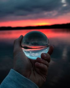 Free Person Holding Clear Glass Ball Stock Photos - 126245663