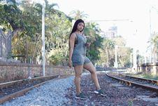 Free Woman Standing Between Railways Stock Images - 126245734
