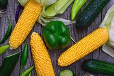 Free Sweetcorn And Bell Pepper Stock Image - 126246241