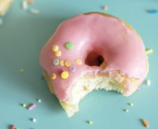 Free Pink Doughnut With Bite Stock Photography - 126652372