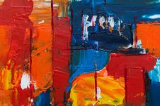 Free Blue, Orange, And Blue Abstract Painting Stock Image - 126652871