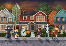 Free Trick Or Treat Halloween Themed Illustration Stock Images - 126727694