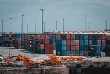 Free Intermodal Container Stacked On Port Stock Image - 126727811