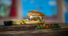 Free Chicken Burger With Fries Royalty Free Stock Image - 126808106