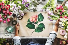 Free Top View Photo Of Flower Painting Royalty Free Stock Photo - 126980445
