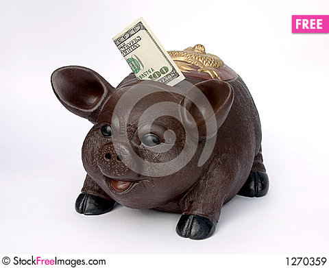 Free Piggy Bank With U.S. One Hundred Dollars In Slot Royalty Free Stock Images - 1270359