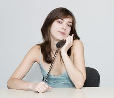 Free The Woman. Telephone Conversation. Stock Photo - 1270740