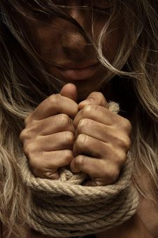 Free Close-Up Photo Of Woman With Her Hands Tied With Rope Royalty Free Stock Image - 127259946
