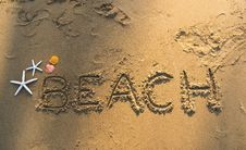 Free Beach Text On Sand Beach Royalty Free Stock Image - 127260086