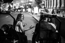 Free Grayscale Photo Of Woman And Couple Riding Carts Stock Images - 127260294