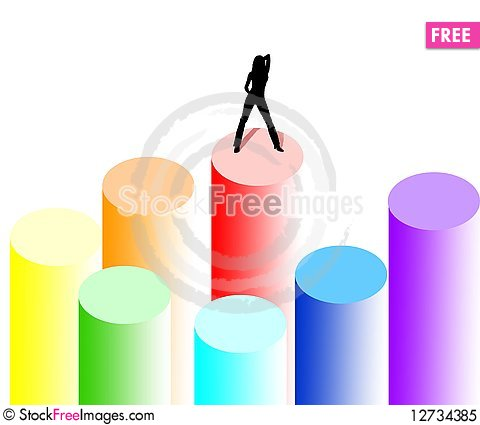 Free Outlines Of A Beautiful Young Woman On Rainbow But Royalty Free Stock Photo - 12734385