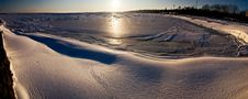 Winter Seaside Panorama Stock Image