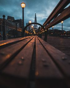 Free Closeup Photo Of Wooden Bench Near The Lamp Post During Night Time Royalty Free Stock Photography - 127450007