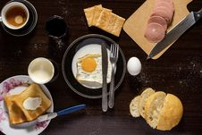 Free Plate Of Sunny Side-up, Sliced Meat, And Bread Royalty Free Stock Images - 127450019