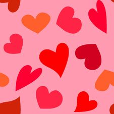 Free Vector Pattern Of Red Hearts On Pink Background Stock Photography - 127499662