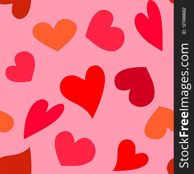 Vector pattern of red hearts on pink background