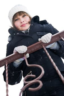 Girl At The Balcony In Winter Day Stock Images
