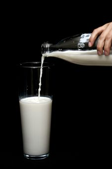 Free Person Pouring Milk In Highball Glass Stock Images - 127649644