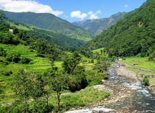 Free Rice Fields And Freshwater. Himalayan Landscape Stock Images - 12770874