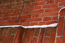 Free Brick Wall With  Stones And Snow Stock Images - 12787324