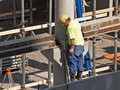 Free Worker Checks Floor Reinforcement Royalty Free Stock Photos - 1284748