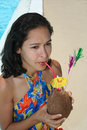 Free Woman With Tropical Drink Stock Image - 1284831