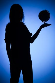 Free Silhouette Of Woman With Globe Stock Photography - 1282592