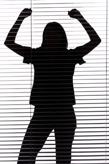 Free Silhouette Of Woman With Hands Up (blind) Stock Photography - 1282632