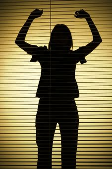 Free Silhouette Of Woman With Hands Up (blind) Stock Image - 1282641