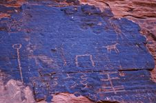 Petroglyphs On Canyon Wall Stock Photography