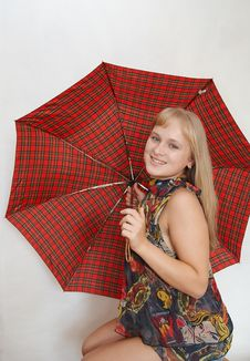 Free Young Woman With Umbrella Royalty Free Stock Images - 1283289
