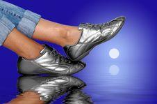 Silver Footwear Royalty Free Stock Photo