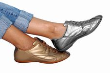 Golden And Silver Footwear Royalty Free Stock Images