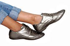 Silver Footwear Royalty Free Stock Image