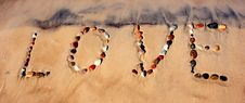 Free Word LOVE On Beach Sand Royalty Free Stock Images - 1286519