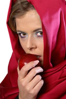 Free Woman In Red Scarf With Apple Stock Images - 1287384