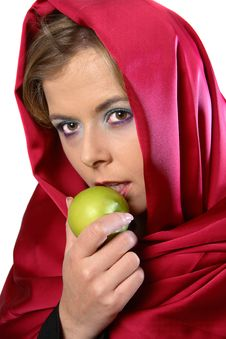 Free Woman In Red Scarf With Apple Stock Photos - 1287503