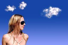 Girl On Blue Sky Stock Photo