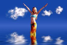 Free Girl On Blue Sky Stock Photography - 1288112