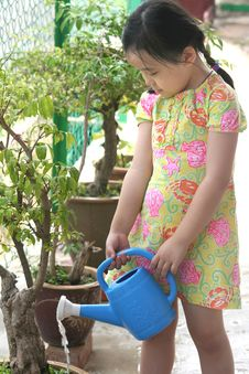 Free Girl Watering Plant Royalty Free Stock Photo - 1288125
