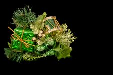 Free Green Christmas Ornament Isolated On Black Stock Image - 1289251