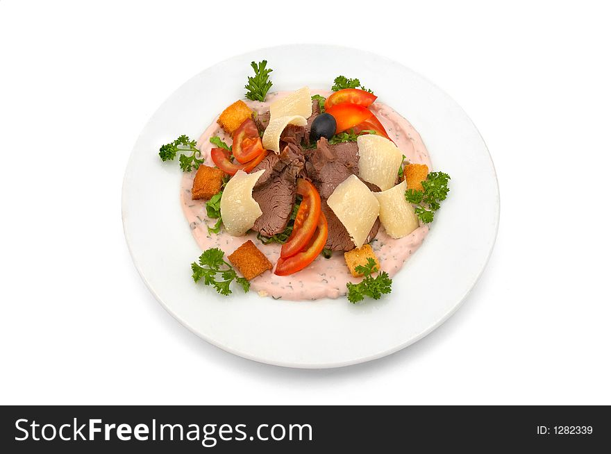 Veal salad with vegetables and parmesan