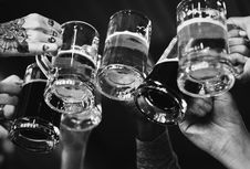 Free Grayscale Photo Of People Cheers Glasses Stock Image - 128194551