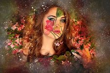 Free Art, Girl, Flower, Cg Artwork Stock Images - 128257474