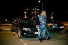 Free Couple Kissing Beside Black Volkswagen Passat B6 Sedan During Nighttime Royalty Free Stock Image - 128405186