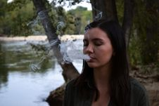 Free Woman With Smoke Coming Out From Mouth Stock Photo - 128405260