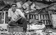 Free Pencil Sketch Of Man Sitting On Bin Stock Photos - 128405263